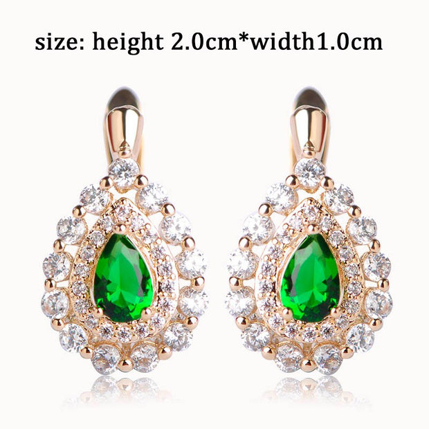 CZ Zirconia Prong Setting Blue Crystals Women Stud Earrings Exquisite Bridal Aros Brincos Jewelry Pendientes Mujer Moda Bijoux