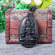 Canifu Big Unique Natural Black Obsidian Carved Chain Buddha Pendant Lucky Amulet Necklace Pendants For Women Men Jewelry