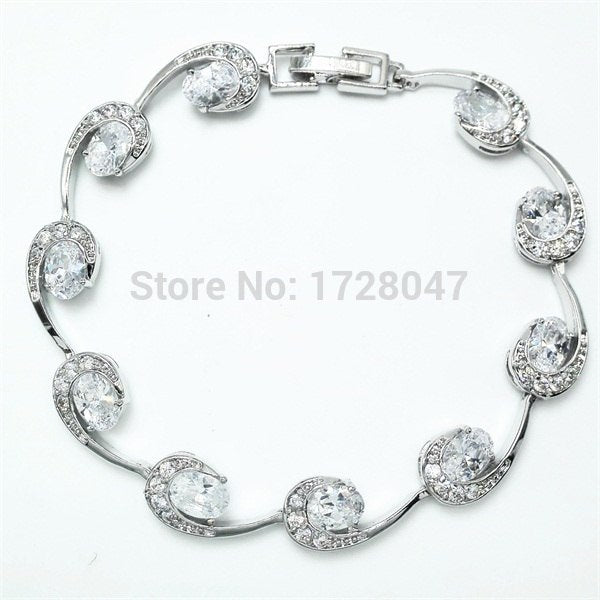 Captivating Bracelets For Women High Quality White Garnet Crystal Silver Filled Health Nickel & Lead Free Fashion Jewelry