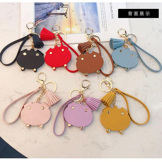 Cartoon Leather PU Pig Car Keychain Cute Tassel Bag Hair Ball Key Chain Ring Pendant Gifts For Women Pompom Key Ring Llaveros