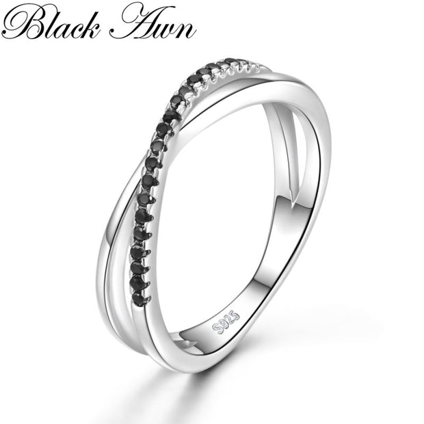 Casual 2g 925 Sterling Silver Fine Jewelry Trendy Engagement Bague Black Spinel Leaf Women's Wedding Ring Bijoux Femme G009
