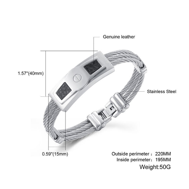Casual Stainless Steel Rope Chain Leather Filled Bracelet Men's Basic Bracelet Silver Multi Layer Bangle GH757