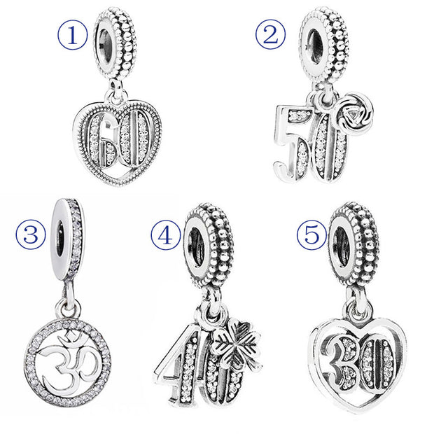 Celebrate Alphabet & Numbers 40 50 60 Years Of Love Heart Pendant Charm Fit Pandora Bracelet 925 Sterling Silver Bead Jewelry