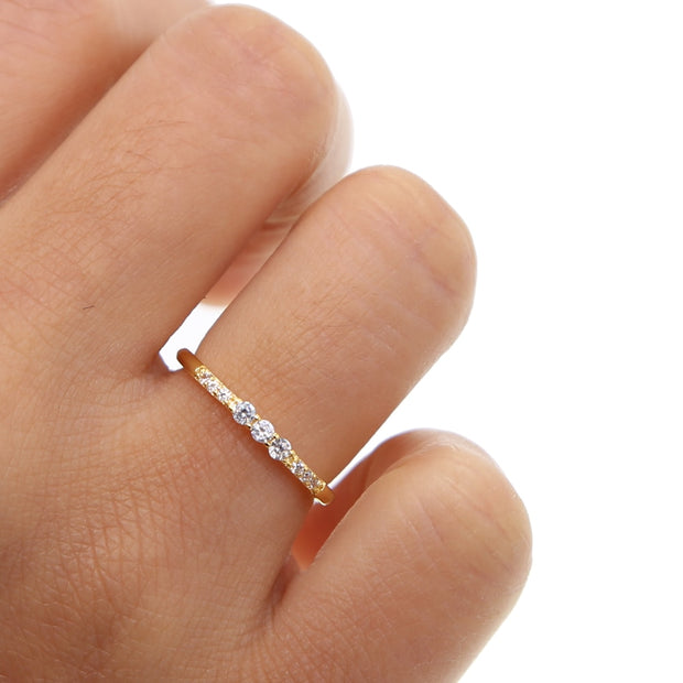 Channel Setting Copper Rings Mini Cubic Zirconia Paved 2019 For Women Wedding Engagement Gold Color Ring Gift New Arrival