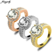 Charm Women Rose Gold Ring White Jewelry Double Paved Zircon Simulate Engagement Ring Women Cushion Semi Mount Fashion Jewelry