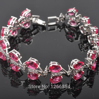 Charming Red Stone Cubic Zirconia Silver Jewelry For Women Link Chain Bracelet 7 Inch Free Shipping R01273