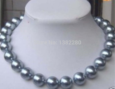 "! Charming Sexy 12mm Silver Sea Shell Pearl Necklace 18 "" JT5035"
