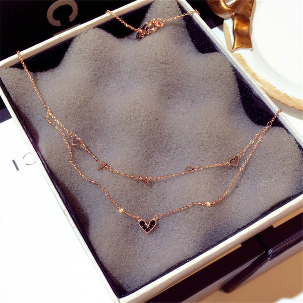 Charmwin New Short Necklaces For Women Necklaces Pendant Rose Gold Color Rhinestone Heart Double Layers Clavicle Necklace Women