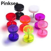 Chic 20PCS Round Earring Fake Ear Plug Stud Neon Acrylic 8mm Taper Cheater Expander Body Piercing [BA45*20]