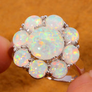 CiNily Created White Fire Opal Silver Plated Rings Wholesale Hot Sell Flower For Women Jewelry Gift Ring Size 5-11 OJ5058