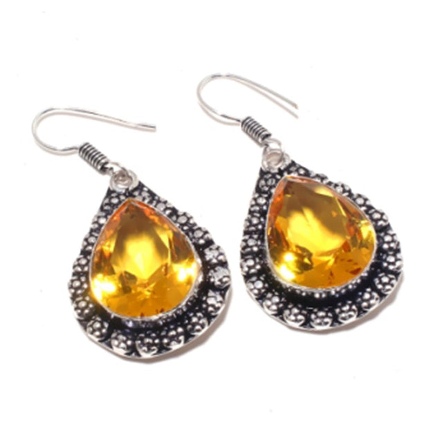 Citrines , Silver Overlay On Copper Earrings ,50 Mm , E3746
