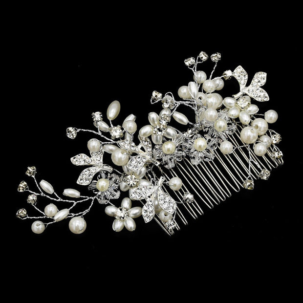 Classic Bride Crystals Rhinestone Big Bridal Wedding Headbands Pears Hair Combs Women Pageant Hair Jewelry Headpiece Accessories