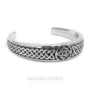 Classic Celtic Knot Bracelet Stainless Steel Jewelry Claddagh Style Silver Motor Biker Women Men Bangle Wholesale SJB03002-1