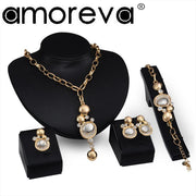 Classic Elegant Jewelry Sets Gold Round Crystal Necklace Earrings Ring Bracelet Set For Best Foot Forward Valentine's Gift