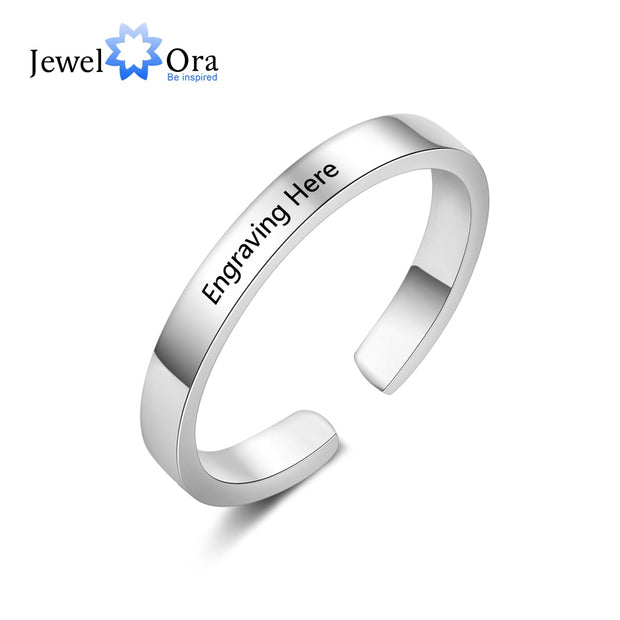 Classic Personalized Gift Engraved Name Stainless Steel Adjustable Rings For Lovers' Anniversary Jewelry (JewelOra RI103754)