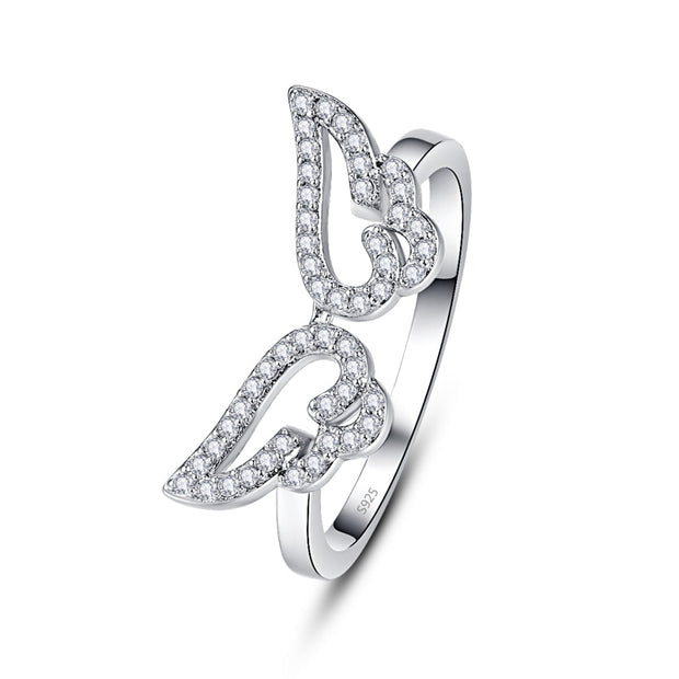 Classic Trendy Boutique 925 Sterling Silver Angel Wings Ring Micro Pave Crystal Zircon Rings For Girl Women Gift Bijoux Ring