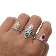 Classic Women Engagement Party Jewelry High Quality Big Tear Drop Red White Yellow Green Crystal Rings With Zirconia Stones