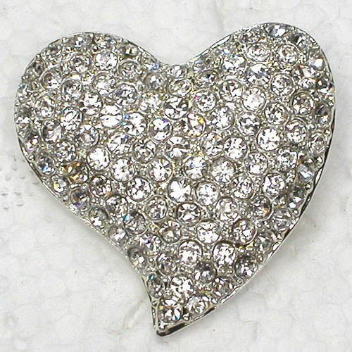 Clear Rhinestone Hear Pin Brooches C809 A
