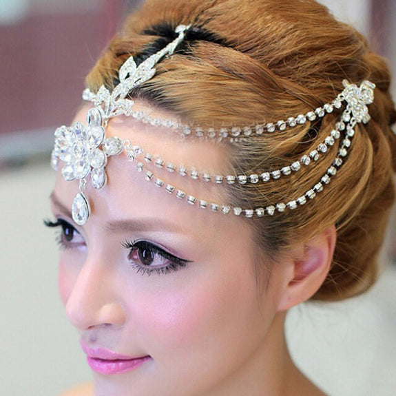 Previous. Clear Crystal Dangle Forehead Headband Tiara Crown Bridal Pageant Prom  Headpieces Wedding ... c06824d9fdce