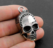 Cool Never Fade Gothic Silver Tone Solid Skull Mens Pendant Necklace Jewelry VT3