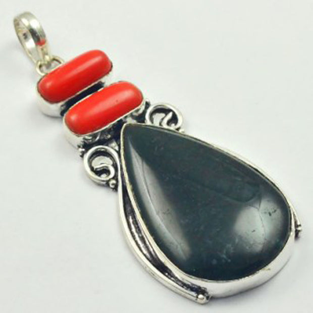 Coral & Bloodstone Pendant Silver Overlay Over Copper, Total Length: 78mm , P4373