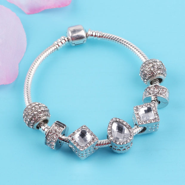 Couqcy High Quality Silver Water Drops Beads Charm Bracelets For Women DIY Original European Fashion Jewelry Gift