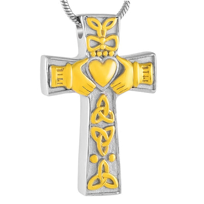 Cremation Jewelry Claddagh Heart Cross Memorial Urn Pendant Keepsake Ashes Necklace Gift For Men Christians Free Funnel Kit