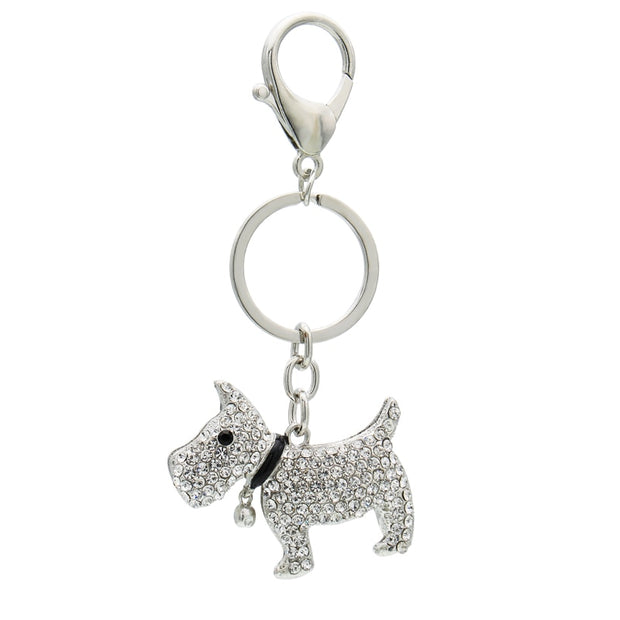 Crystal Bejeweled Westie Dog Key Chain Charms Key Holder For Women Keyrings Keyfobs Purse Keychains Creative Gifts