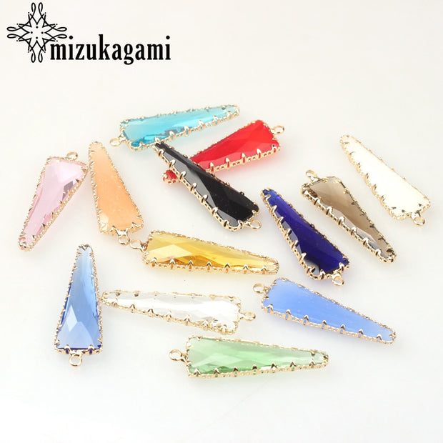 Crystal Birthstones Geometric Triangle Charms 13*42MM 6pcs/lot For Glass Living Memory Locket DIY Jewelry Making Accessories