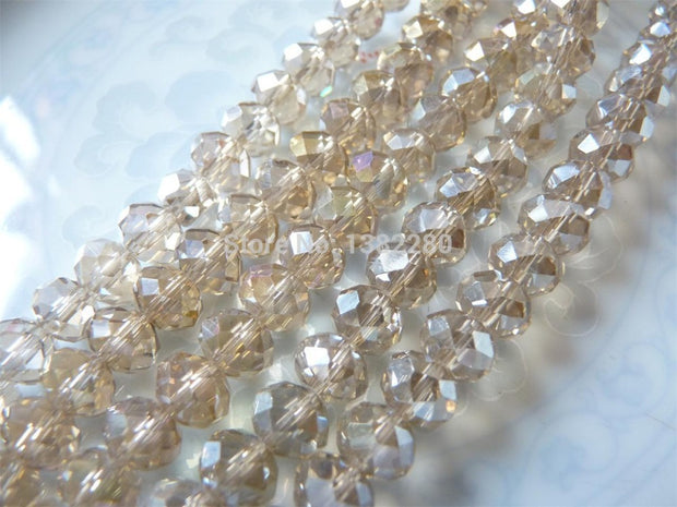 ! Crystal Glass Loose Beads Oval Transparent Faceted 6x8mm 2 Strands(approx 72PCs/Strand) JT5206