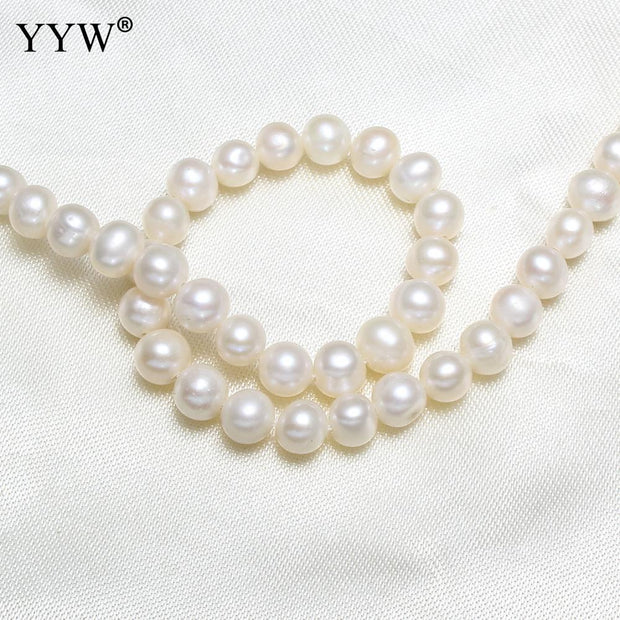 Cultured Round Freshwater Pearl Beads Natural White 5-6mm Approx 0.8mm Sold By Strand