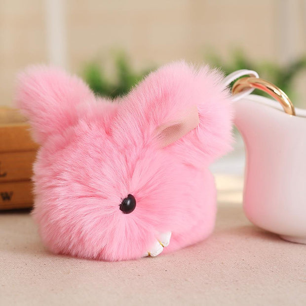 Cute Furry Rabbit Keychain Bag Handbag Key Ring Car Jewelry