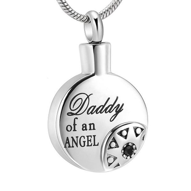 Daddy Of An Angel Cremation Jewelry For Ashes Holder Round Memorial Velvet Box