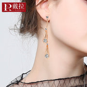 DARA New Fashion Cubic Zirconia Drop Earrings Trendy Rose Gold Color Geometric Earrings For Women Jewelry Gift H1409