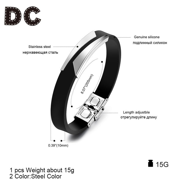 DC Fashion Gold Silver Color Stainless Steel Silicone Wide Charms Bracelet Bangles With Strong Clasps For Men Male Rock Jewelry
