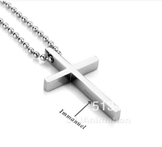 DZ465 New Men's Jewelry Stainless Steel Silver Cross Pendant Necklace Free Chain Good Quality