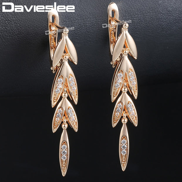 Davieslee Womens Lady Drop Earrings Dangling Leaf 585 Rose Gold Filled Snap Closure LGE88