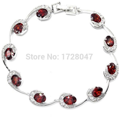 Delicate Valentine's Day Gift For Lover RED Zircon Crystal Bracelets For Women Silver Filled Fashion Jewelry