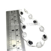 Delicate Valentine's Day Gift For Lover White+black Zircon Crystal Bracelets For Women Silver Filled Fashion Jewelry