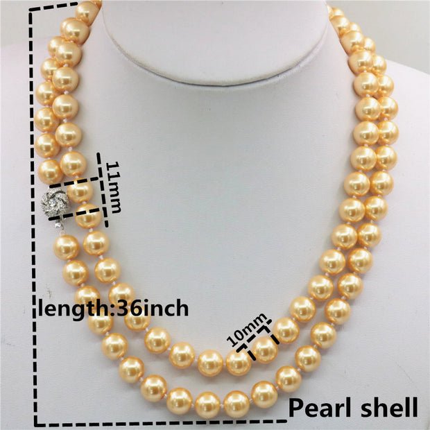 """10mm gold south sea shell pearl necklace 36/"""""""