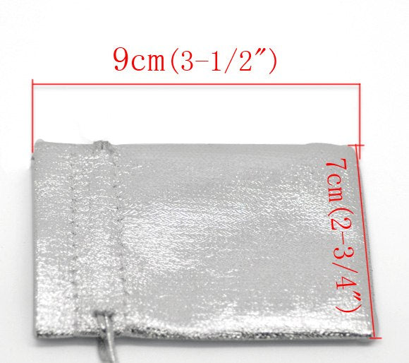 "DoreenBeads Silver Color Satin Gift Bags With Drawstring 9x7cm(3-1/2""x2-3/4""),100PCs (B16805)"