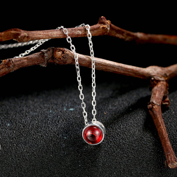 Double Fair Simple Round Red Stone 100% 925 Sterling Silver Chain Necklace & Pendants Jewelry For Women Wedding Party DFNY059