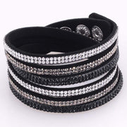Double Wrap Velvet Leather 3 Rows Crystal Bracelet With Full Pave Crystal Wrapped Bracelets With Bilingbling Full Crystal