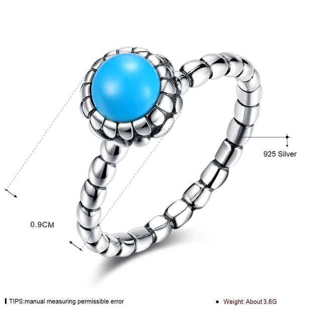 DreamBell Women Fashion S925 Silver Ring Simple Round Decoration Ring
