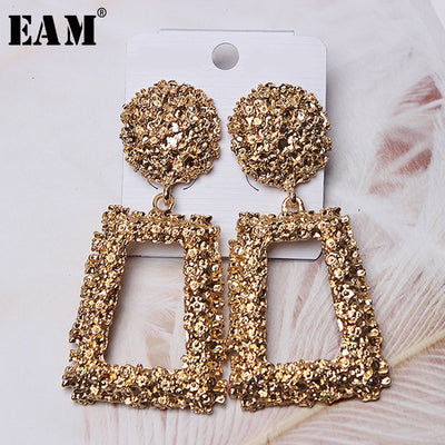 [EAM] 2019 Spring Woman New High Quality Classic Metal Color Rectangle Shape Temperament Rhinestone Earring All Match LI465