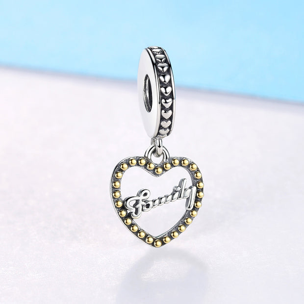 ELESHE Authentic 925 Sterling Silver Bead Family Heart Pendant Charm Fit Original Pandora Bracelet Women DIY Jewelry Accessories