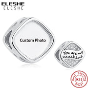 ELESHE Customized 925 Sterling Silver Square Charm Custom Photo Crystal Beads Fit Pandora Bracelet Necklaces Fashion Jewelry