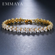 EMMAYA Roman Chain Bracelet For Women Luxury 2.75mm Cubic Zircon Inlay Charm Bracelet Bride Wedding Jewelry