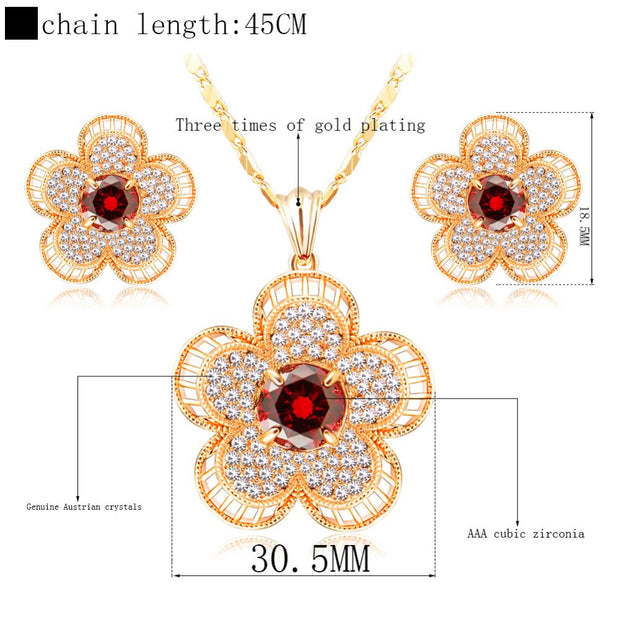 ERLUER Jewelry Sets For Women African Wedding Party Bridal Fashion Austrian Crystal Dubai Gold Color Flower Necklace Earring Set
