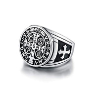 EVERLEAD St Benedict Exorcism Ring For Men Stainless Steel Catholic Roman Cross Demon Protection Ghost Hunter